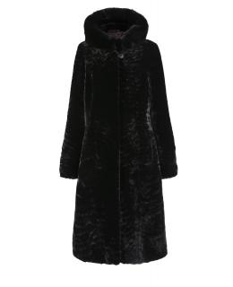 Пальто из мутона, цвет: Чёрный астраган, отделка Норка - купить за 46200 в магазине - Гипермаркет меха