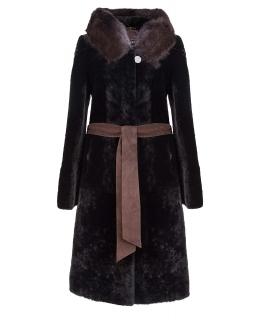 Пальто из мутона, цвет: Чёрный, отделка Норка - купить за 44000 в магазине - Гипермаркет меха