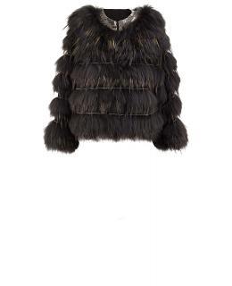 Жакет из меха енота, цвет: Зелёный / Коричневый - купить за 33900 в магазине - Гипермаркет меха