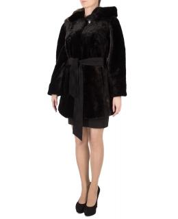 Полупальто из мутона, цвет: Чёрный астраган, отделка Норка - купить за 46200 в магазине - Гипермаркет меха
