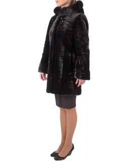 Полупальто из мутона, цвет: Чёрный, отделка Норка - купить за 46200 в магазине - Гипермаркет меха