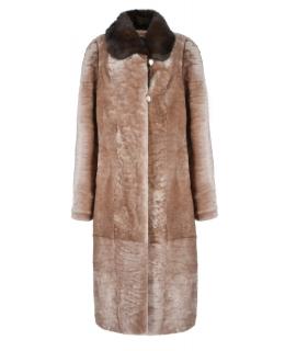 Пальто из мутона, цвет: Песок астраган, отделка Норка - купить за 41800 в магазине - Гипермаркет меха