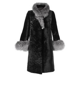 Полупальто из мутона, цвет: Чёрный, отделка Блюфрост - купить за 44000 в магазине - Гипермаркет меха