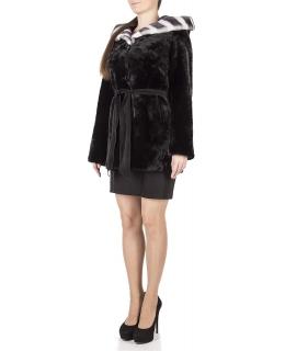 Полупальто из мутона, цвет: Чёрный, отделка Кожа - купить за 38500 в магазине - Гипермаркет меха