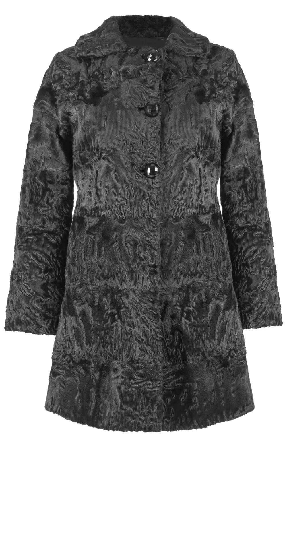 Полупальто из каракуля, цвет: Чёрный - купить за 105600 в магазине - Гипермаркет меха