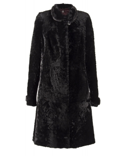 Полупальто из мутона, цвет: Чёрный астраган, отделка Норка - купить за 41800 в магазине - Гипермаркет меха
