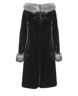 Полупальто из мутона, цвет: Чёрный, отделка Чернобурая лиса - купить за 46200 в магазине - Гипермаркет меха