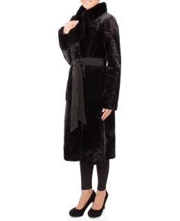 Пальто из мутона, цвет: Графит астраган, отделка Норка - купить за 47500 в магазине - Гипермаркет меха