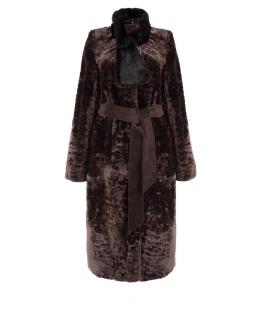 Пальто из мутона, цвет: Сталь астраган, отделка Норка - купить за 47500 в магазине - Гипермаркет меха