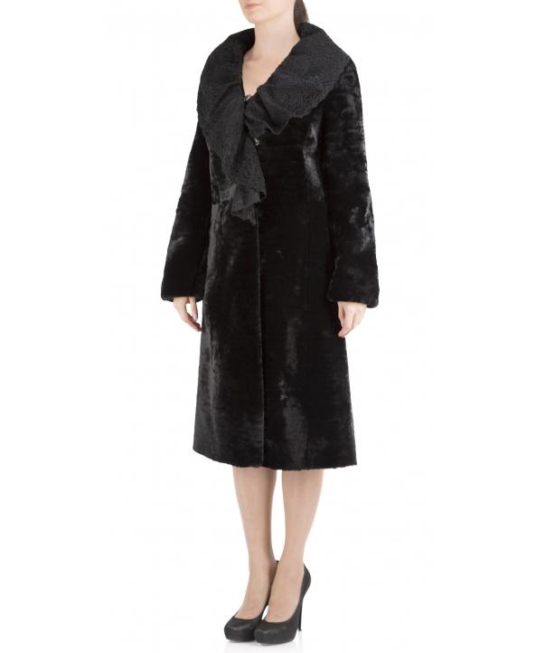 Пальто из мутона, цвет: Чёрный, отделка Каракуль - купить за 29900 в магазине - Гипермаркет меха