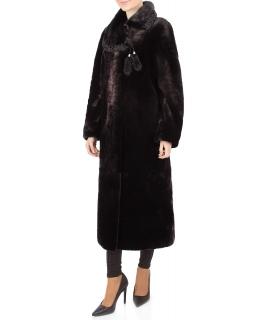 Пальто из мутона, цвет: Шоколад, отделка Норка, каракуль - купить за 43700 в магазине - Гипермаркет меха