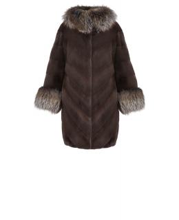 Полупальто из меха норки, цвет: Коричневый, отделка Блюфрост - купить за 239100 в магазине - Гипермаркет меха