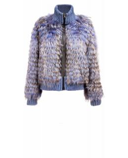 Жакет из меха енота, цвет: Синий, отделка Трикотаж, кожа - купить за 49100 в магазине - Гипермаркет меха