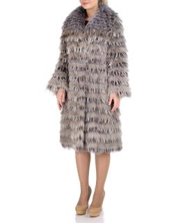 Полупальто из меха енота, цвет: Бежевый / Серый - купить за 66700 в магазине - Гипермаркет меха
