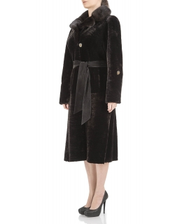 Пальто из мутона, цвет: Шоколад, отделка Норка - купить за 44700 в магазине - Гипермаркет меха