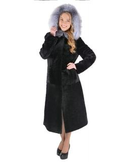 Пальто из мутона, цвет: Чёрный, отделка Блюфрост - купить за 39600 в магазине - Гипермаркет меха