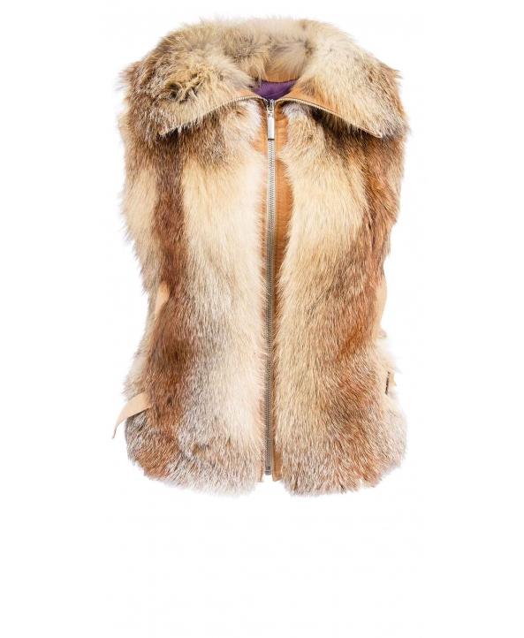 Жилет из меха лисы, цвет: Натуральный (лиса), отделка Замша - купить за 9000 в магазине - Гипермаркет меха