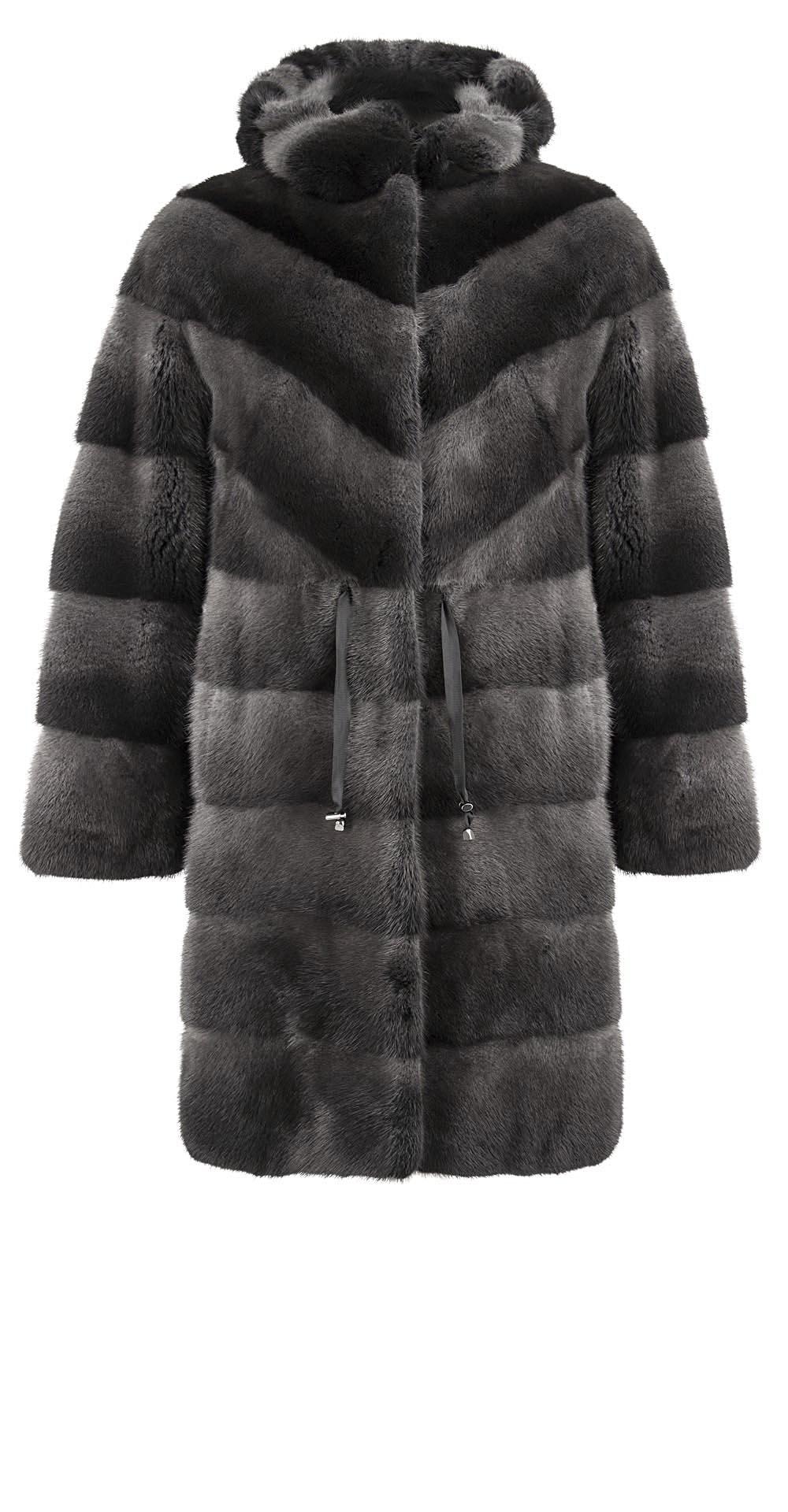 Полупальто из меха норки, цвет: Серый - купить за 269100 в магазине - Гипермаркет меха