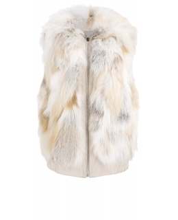 Жилет из меха лисы, цвет: Натуральный (лиса), отделка Замша - купить за 30000 в магазине - Гипермаркет меха