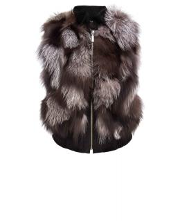 Жилет из меха чернобурой лисы, цвет: Натуральный (чернобурая лиса), отделка Замша - купить за 15200 в магазине - Гипермаркет меха