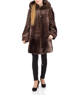 Полупальто из мутона, цвет: Капучино полоса, отделка Норка - купить за 37400 в магазине - Гипермаркет меха