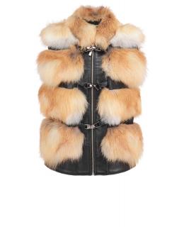 Жилет из меха лисы, цвет: Натуральный (лиса), отделка Кожа - купить за 26400 в магазине - Гипермаркет меха