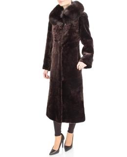 Пальто из мутона, цвет: Шоколад, отделка Песец - купить за 39600 в магазине - Гипермаркет меха