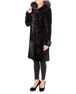 Полупальто из мутона, цвет: Чёрный астраган, отделка Норка - купить за 48400 в магазине - Гипермаркет меха