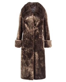 Пальто из мутона, цвет: Капучино однотонный, отделка Норка - купить за 44600 в магазине - Гипермаркет меха