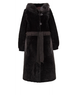 Пальто из мутона, цвет: Чёрный астраган, отделка Норка - купить за 47500 в магазине - Гипермаркет меха