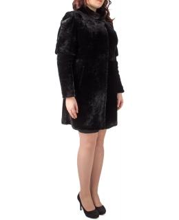 Полупальто из мутона, цвет: Чёрный, отделка Норка - купить за 42800 в магазине - Гипермаркет меха