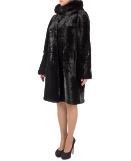 Полупальто из мутона, цвет: Чёрный, отделка Норка - купить за 47300 в магазине - Гипермаркет меха