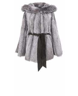 Полупальто из меха нутрии, цвет: Серебро, отделка Блюфрост - купить за 37400 в магазине - Гипермаркет меха