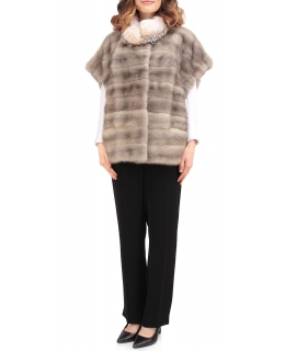 Жакет из меха норки, цвет: Серый, отделка Барсук - купить за 77200 в магазине - Гипермаркет меха