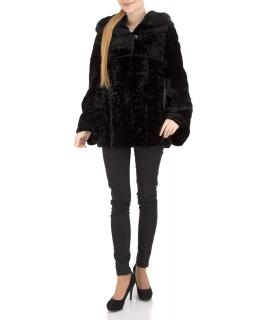 Полупальто из мутона, цвет: Чёрный астраган, отделка Норка - купить за 39600 в магазине - Гипермаркет меха