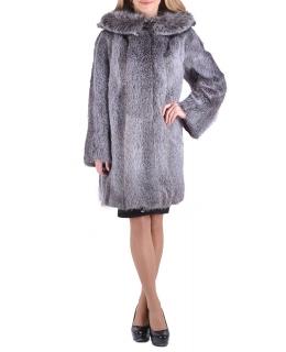 Полупальто из меха нутрии, цвет: Серебро, отделка Блюфрост - купить за 35200 в магазине - Гипермаркет меха