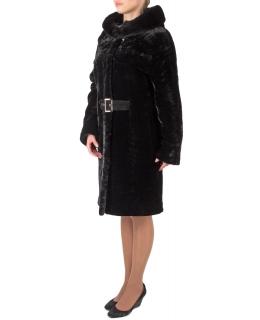 Полупальто из мутона, цвет: Чёрный астраган, отделка Норка - купить за 45100 в магазине - Гипермаркет меха