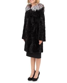 Полупальто из меха норки, цвет: Чёрный, отделка Блюфрост - купить за 54900 в магазине - Гипермаркет меха