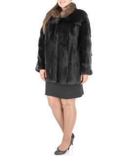 Полупальто из меха норки, цвет: Чёрный, отделка Соболь - купить за 178900 в магазине - Гипермаркет меха