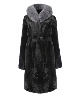Полупальто из мутона, цвет: Чёрный, отделка Блюфрост - купить за 34100 в магазине - Гипермаркет меха