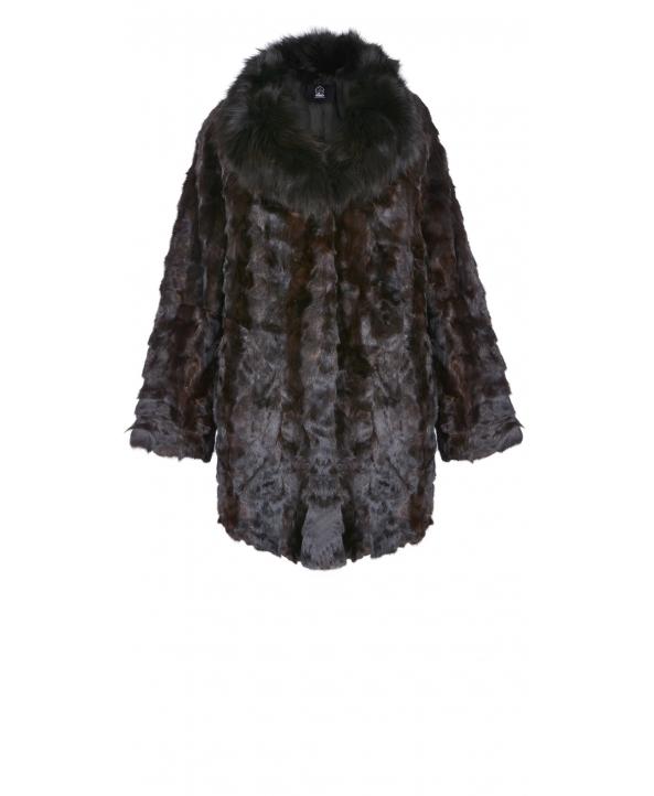 Полупальто из меха норки, цвет: Махагон, отделка Песец - купить за 19000 в магазине - Гипермаркет меха