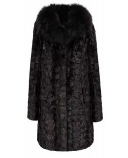 Полупальто из меха норки, цвет: Чёрный, отделка Песец - купить за 39000 в магазине - Гипермаркет меха
