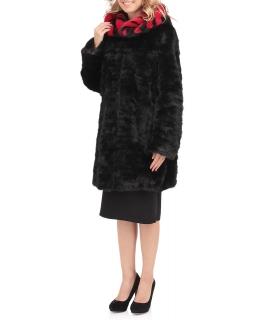 Полупальто из меха норки, цвет: Чёрный / Красный - купить за 60000 в магазине - Гипермаркет меха