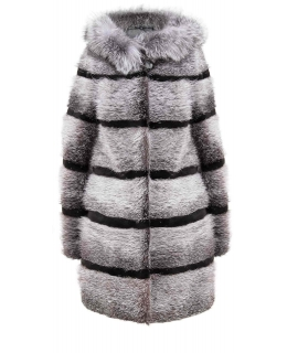 Полупальто из меха нутрии, цвет: Серебро, отделка Блюфрост - купить за 33000 в магазине - Гипермаркет меха