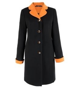 Пальто из шерсти, цвет: Чёрный / Оранжевый - купить за 7000 в магазине - Гипермаркет меха