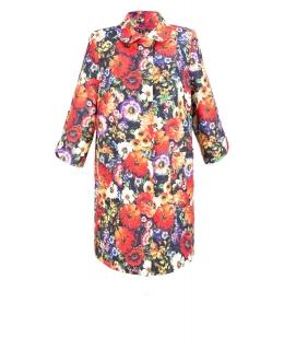 Пальто из текстиля, цвет: Цветы на синем - купить за 5800 в магазине - Гипермаркет меха