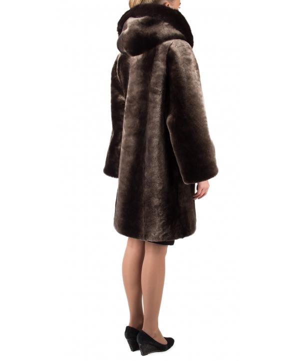 Полупальто из мутона, цвет: Панда полоса, отделка Норка - купить за 37400 в магазине - Гипермаркет меха