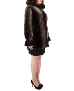Полупальто из мутона, цвет: Панда, отделка Норка - купить за 39600 в магазине - Гипермаркет меха