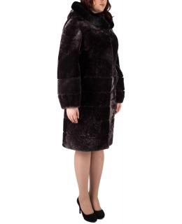 Полупальто из мутона, цвет: Сталь, отделка Норка - купить за 44000 в магазине - Гипермаркет меха