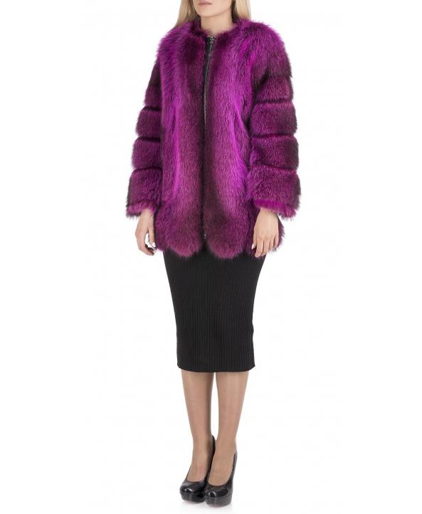 Полупальто из меха енота, цвет: Фуксия - купить за 91100 в магазине - Гипермаркет меха